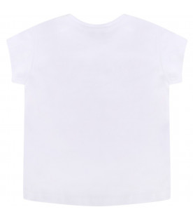 KENZO KIDS White babyboy T-shirt with pink iconic tiger
