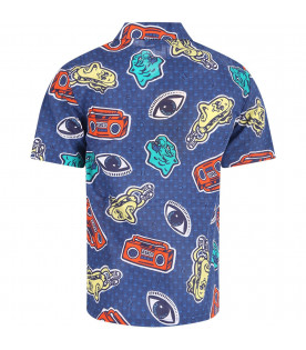 KENZO KIDS Blue boy shirt with colorful prints