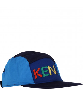KENZO KIDS Blue and light blue kids hat