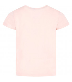 KENZO KIDS Pink girl T-shirt with red logo