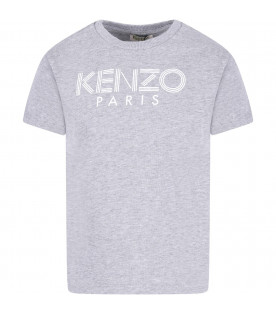 KENZO KIDS Grey girl T-shirt with white logo