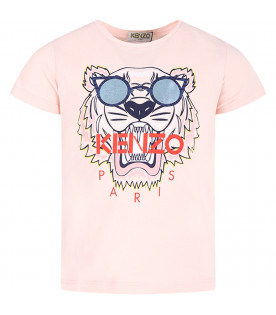 KENZO KIDS Pink girl T-shirt with colorful tiger