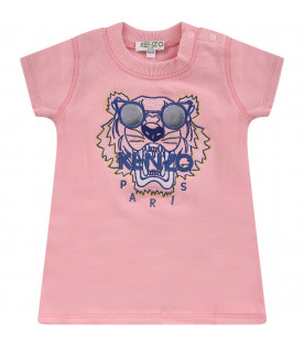 KENZO KIDS Pink girl dress with colorful tiger