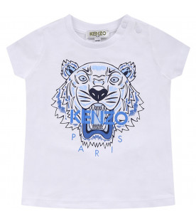 KENZO KIDS White babyboy T-shirt with colorful iconic tiger