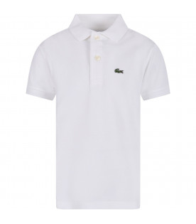 LACOSTE White boy polo shirt with green crocodile