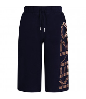 Blue girl short with gold logo