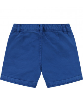 KENZO KIDS Blue babyboy short with green logo