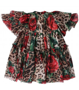DOLCE & GABBANA KIDS Animalier print girl dress with red roses
