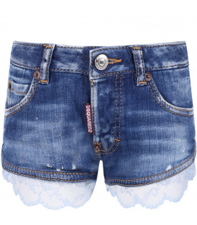 DSQUARED2 Short celeste denim per bambina con pizzo