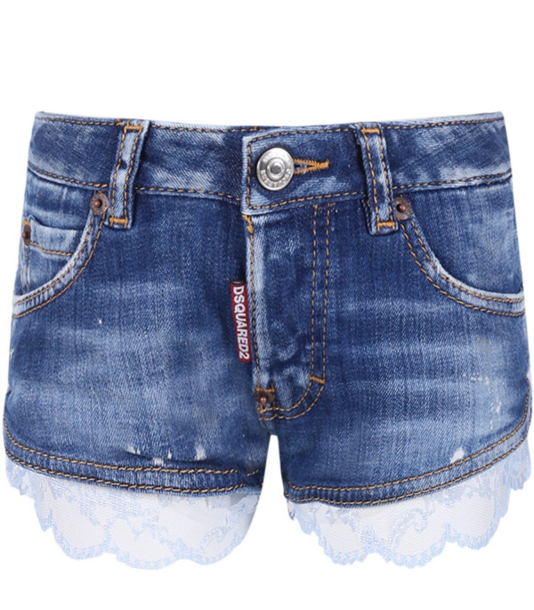 DSQUARED2 Denim light blue girl shot with  lace