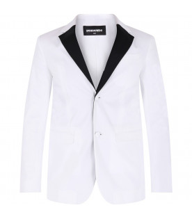 DSQUARED2 White boy jacket wih black collar
