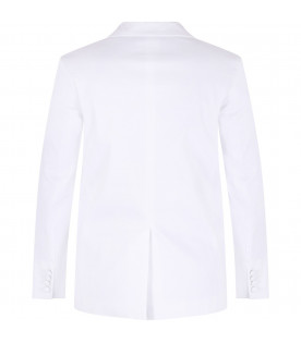White jacket for boy with black collar