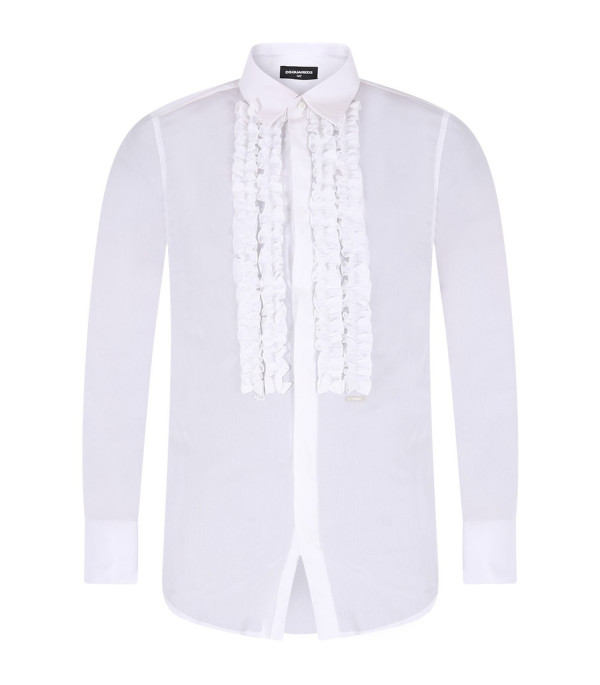 DSQUARED2 White boy shirt with ruffles and metallic logo