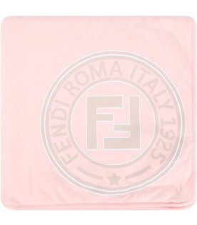 FENDI KIDS Pink and beige babykids with rubbred logo