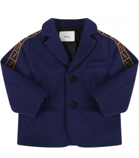 FENDI KIDS Blue babyboy jacket with black iconic FF