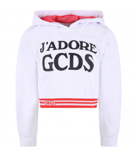 GCDS KIDS White girl sweatshirt with black logo