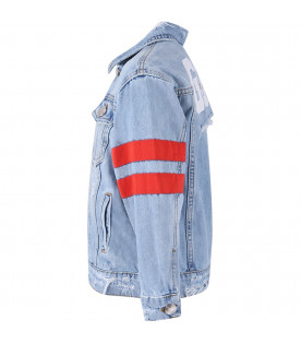 GCDS KIDS Light blue kids jacket with white logo