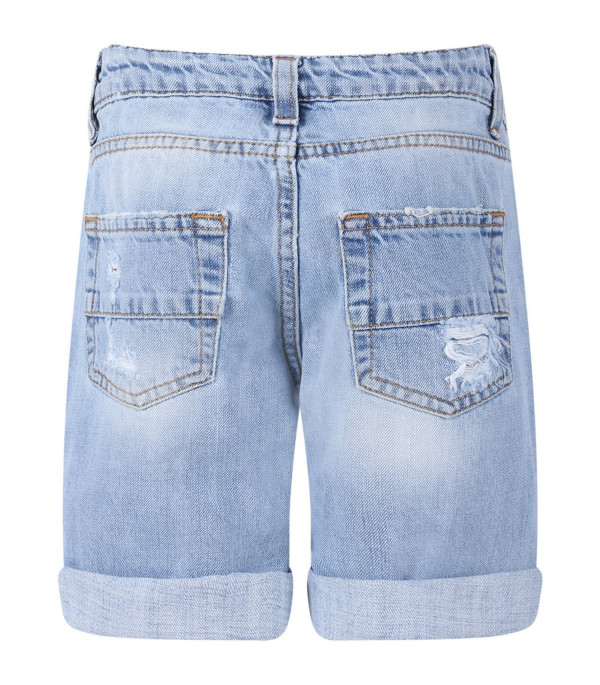 GCDS KIDS Light blue boy short with  colorful patches