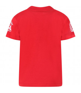 GCDS KIDS Red boy T-shirt with white logo