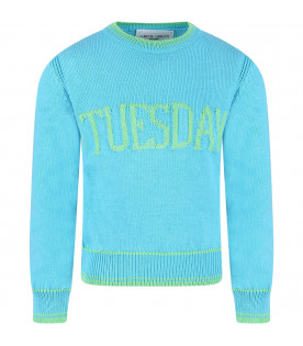 Light blue sweater for girl with green writing