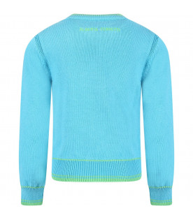 Light blue girl sweater with green writing