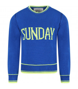 Royal blue sweater for girl with fucshia writing
