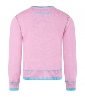 Pink girl sweater with light blue writing