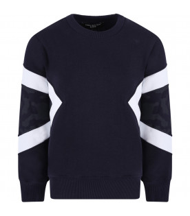 NEIL BARRETT KIDS Blue navy boy sweatshirt with white print and camouflage print