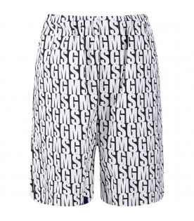 MSGM KIDS Black boy short with white all-over logo