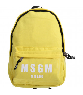MSGM KIDS Yellow boy backpack with white logo