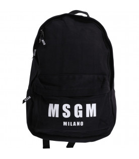 MSGM KIDS Black boy backpack with white logo