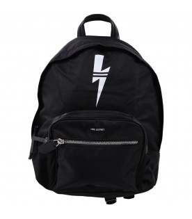 NEIL BARRETT KIDS Black nylon backpack