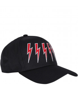 NEIL BARRETT KIDS Black baseball hat with red thunder