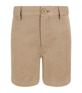 BURBERRY KIDS Beige boy short with iconic horse