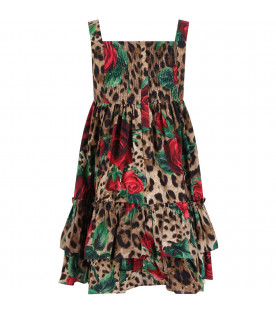 DOLCE & GABBANA KIDS Spotted girl dress with red roses