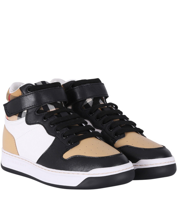 BURBERRY KIDS Sneakers alte colorate per bambino con iconico check