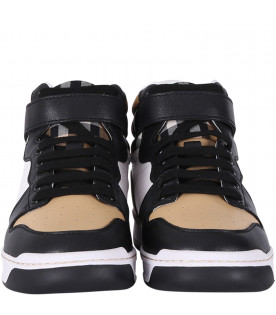 BURBERRY KIDS Colorful boy high-top sneakers with iconic check