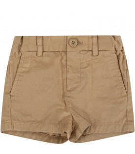 BURBERRY KIDS Beige babyboy short with iconic horse