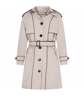 BURBERRY KIDS Beige girl trench coat with black details