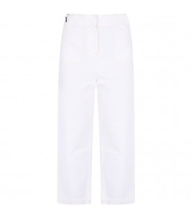 BURBERRY KIDS White girl jeans with black logo