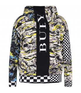BURBERRY KIDS Black boy sweatshirt with colorful all-over prints