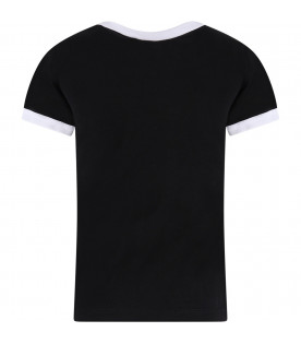 GCDS KIDS Black kids T-shirt with white logo