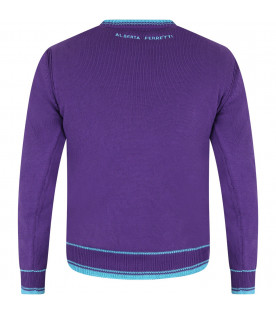 Purple girl sweater with light blue writing