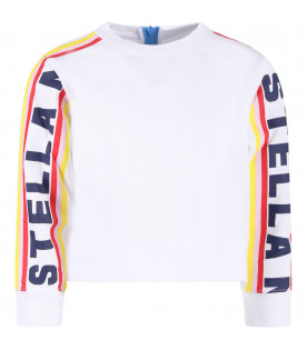STELLA MCCARTNEY KIDS White girl sweatshirt with colorful stripes
