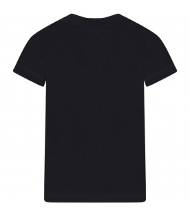 Black kids t-shirt with logo
