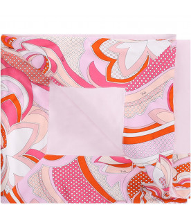 EMILIO PUCCI JUNIOR Pink baby girl blanket with colorful trimming