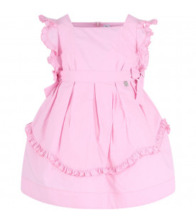 SIMONETTA Pink girl dress with bows and rouches