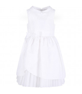 SIMONETTA White girl dress with flowers