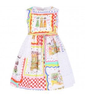 SIMONETTA Multicolor girl dress with Sangallo lace