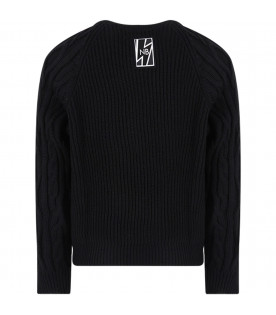 NEIL BARRETT KIDS Black sweater boy with cable-knit sleeves
